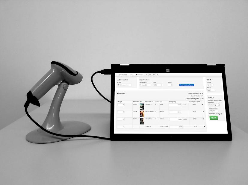 Webkasse auf Tablet