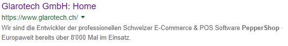 Suchresultat auf Google für die Glarotech GmbH inkl. Meta-Description
