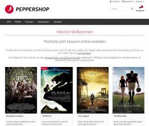 Startseite eines PepperShops mit neuem Grunddesign.